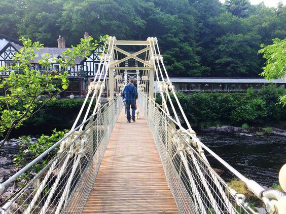 *walking across chain bridge
