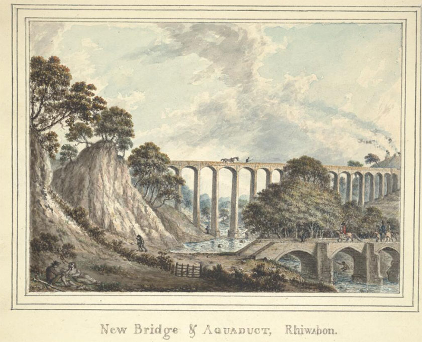 Llun o'r ddyfrbont gydag odynau calch ar un ochr Painting of aqueduct with limekilns to one side