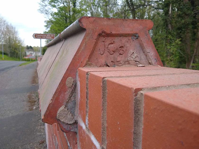 Wall cap tile at Tref-y-Nant