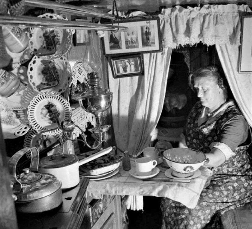 Woman in cabin