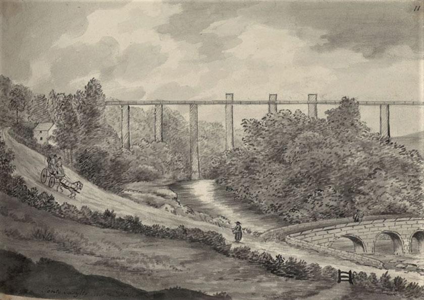 Dyfrbont yn cael ei hadeiladu Aqueduct under construction