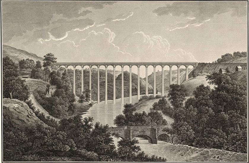 Cymharu gyda'r hen bont – ysgythriad Ffrengig Comparison with old bridge - French engraving