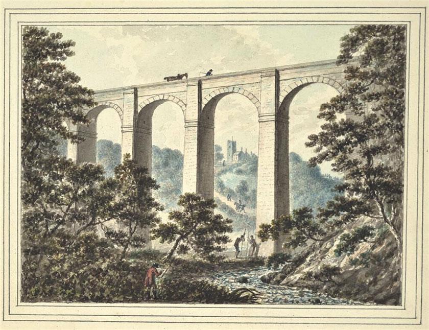 Dyfrbont y Waun gydag artist Chirk Aqueduct with artist - John Ingleby