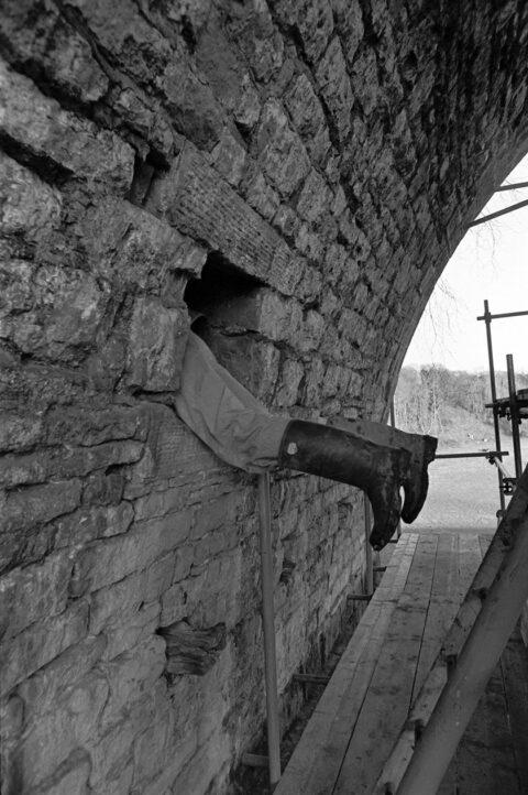 Man entering Chirk Aqueduct