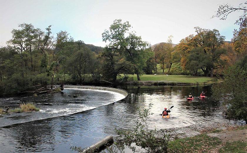 Cored Rhaeadr y Bedol Horseshoe Falls weir