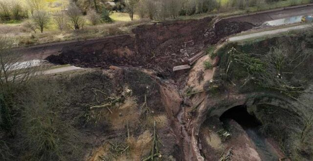 Drone photo of Middlewich breach