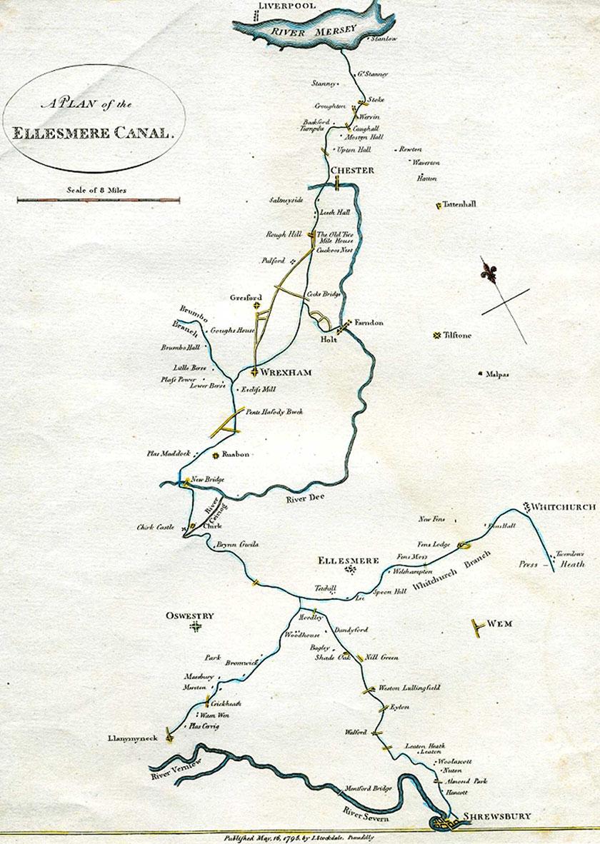 1795 surveyor map of Llangollen Canal