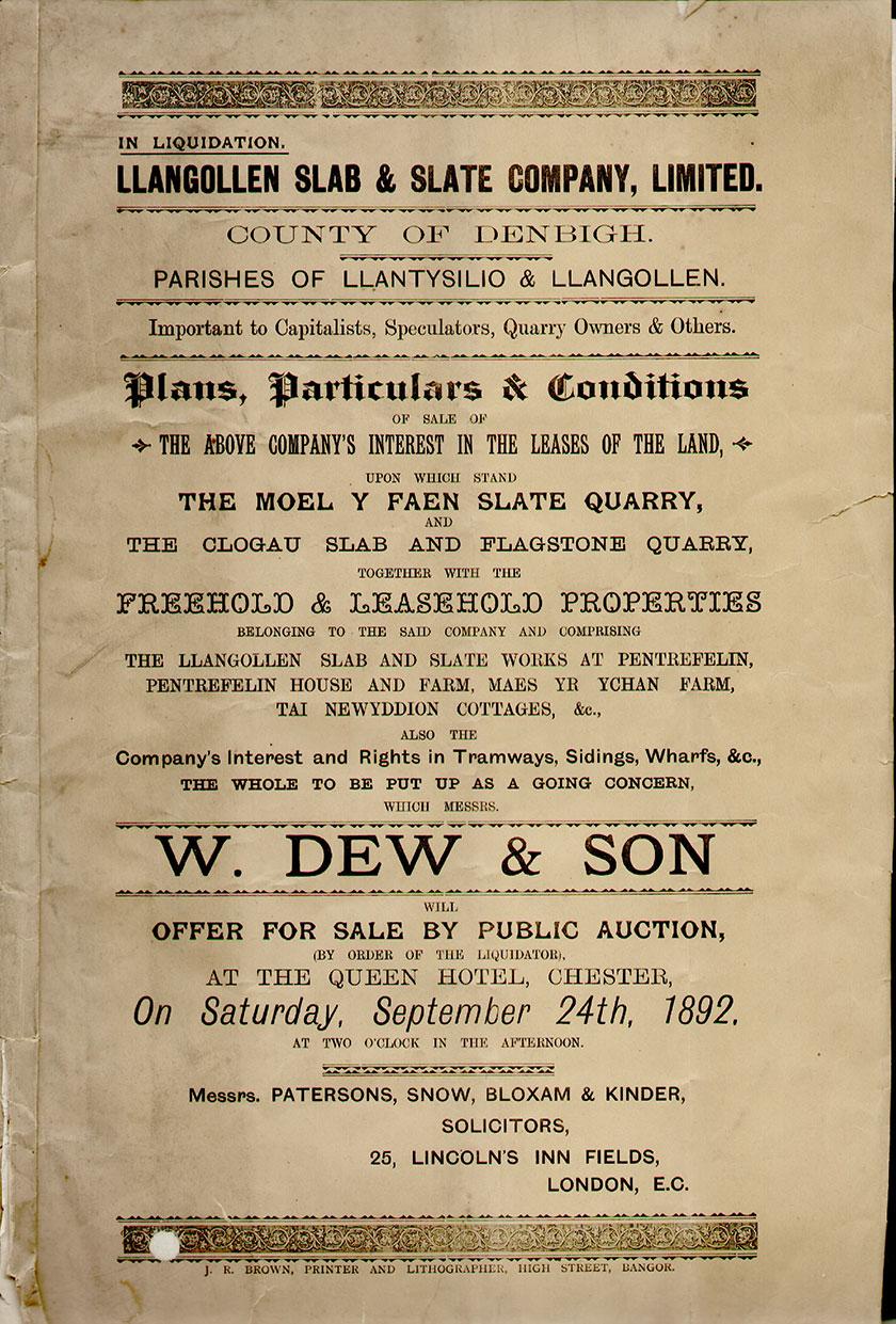 Advert for Pentrefelin works sale
